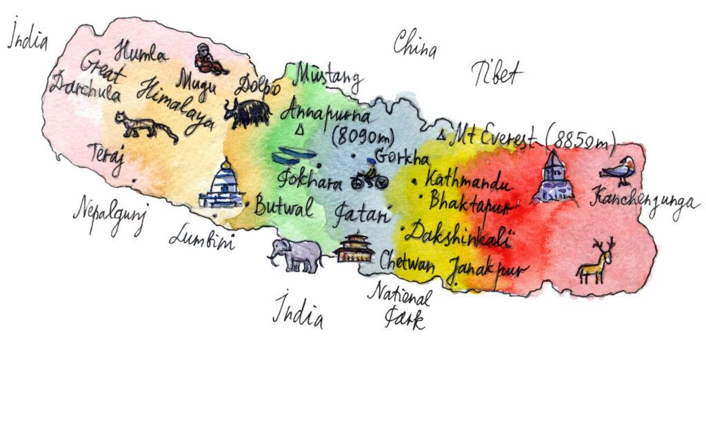 Cartoon Karte Nepal